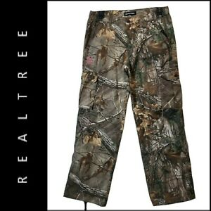 Realtree Edge Women Camouflage Real Tree Cargo Pants Size Large Pink Logo