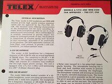 Telex A-1210 and MRB-2400 Headset Technical Data Sheet