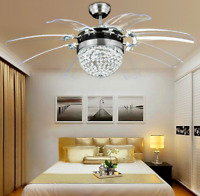 "42"" Crystal 8-Blades Take-off Ceiling Fan Light Remote Home Chandelier Lamp"
