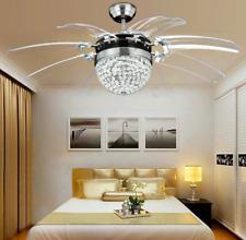 "Crystal Invisible 42"" Ceiling Fan LED Light Modern Dining Room Fan Chandelier"