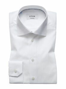 NWT ETON DRESS SHIRT solid white poplin luxury Sweden 46 18 contemporary