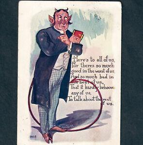 Lucifer Devil Preacher 1906 © H.H. Tammen Denver Colorado poem Comic PostCard