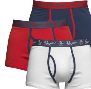 Original Penguin Mens 3 Pack Stretch Jersey Boxer Shorts Red/White Sizes S - XL