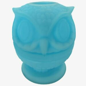 Vintage MCM Fenton Blue Owl Fairy Lamp Candle Light Aqua Satin Glass Aqua MCM