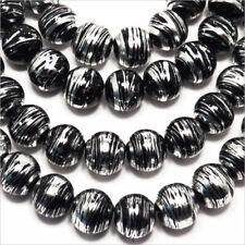 Lot de 20 Perles en Verre Décorées 10mm Noir et Argent