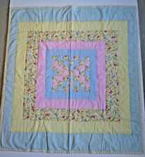 Handmade Butterfly Pastel 38x36 Baby Quilt Flannel Backed Excellent Condition
