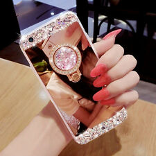 Elegant Bling Crystal Ring Holder Stand Kickstand Mirror Phone Case Cover