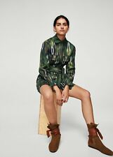 Mango Committed Womens Oversize Military Chest-Pocket Printed Jacket Shirt  S/M