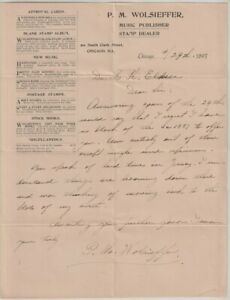 1897 P.M. Wolfsiefer Letter on Headed Advertising Note Paper, Signed