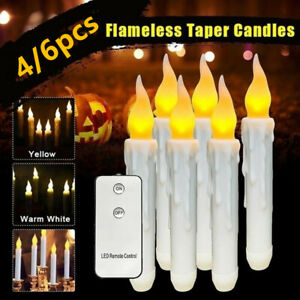 4/6pcs Flameless Taper Candle Lights Led Window Candles with Remote Flickering