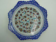 PERSIAN MINA STYLE HAND PAINTED BIRD FLORAL SCALLPED ENAMEL PLATE WALL HANGING