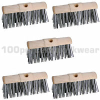 "5 x Prodec 13"" Scavenger Stiff Bristle Sweeping Broom Head Brush Outdoor Wet Dry"