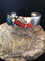 Native American Navajo Sterling Silver Spider Web Turquoise Coral Bracelet 8366
