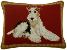 "12"" x 16"" Handmade Wool Needlepoint Petit Point Wire Fox Terrier Dog Pillow"