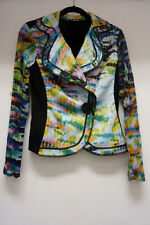 Alberto Makali Multi-Colored Fitted Stretch Jacket, Sheer Sleeves, Size S/M