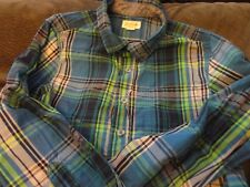 LONG SLEEVE BOYS BUTTON DOWN BLUE AND GREEN PLAID CAT & JACK SIZE M 8/10
