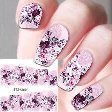 Art Pour Les Ongles Eau Autocollants Décalques Décoration Fleurs Violettes Roses