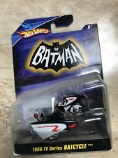 NEW BATMAN Hot Wheels 1966 TV Series Bat Cycle with Sidecar RARE HTF Yamaha