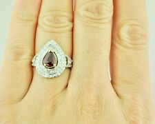 18k Solid White Gold Natural Diamond & Pear Shape Ruby Ring Halo July Birthstone