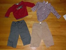 4 pc Lot Baby Boy Janie and Jack Sweater shirt 2 pair pants 4 pc Outfit Airplane