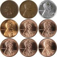 150 Years of Penny Designs Indian and Lincoln Cent 9 Coin Set 1c Collectible