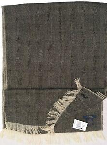 NEW Polo Ralph Lauren Dress Scarf!   Black & Creme Herringbone  Wool  15 x 77