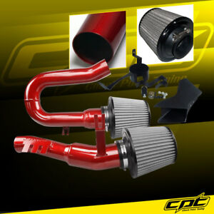 For 07-10 BMW 335i 3.0L L6 E90/E92/E93 Red Cold Air Intake + Stainless Filter