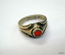 Coral Gemstone Moonga stone ring Vintage Antique tribal old silver Ring