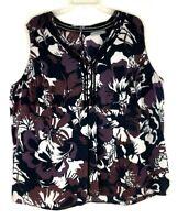 Classiques Entier Silk Stretch Sleeveless Blouse Shirt Floral Sz:XL Multicolor