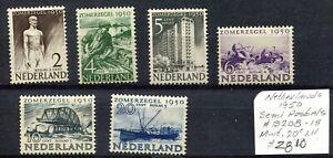 Weeda Netherlands #B208-B213 MLH 1950 issue Semi-Postal Surtax CV $28.10