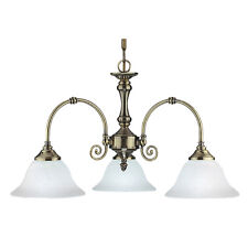 Searchlight 9353-3 Virginia Antique Brass 3 Light Fitting White Scavo Glasses