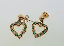 Gorgeous Diamond & Natural Emerald Solid 14K Gold Dangle Earrings