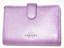 Coach Lilac Metallic Cross Grain Leather Medium Corner Zip Wallet F23256 NWT$165