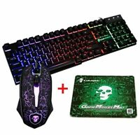 T6 Rainbow LED Backlit Gaming Keyboard and Mouse Set 2400DPI for PS4 Xbox one PC