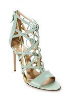 Alejandro Ingelmo Womens Pumps Size 39 9 Open Toe Boomerang Jade Gold New