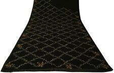 Vintage Sari 100% Pure Georgette Silk Hand Beaded Embroidered Saree Fabric Black