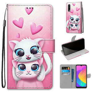 Cute Cat Animals Magnetic Leather Strap Flip Stand Case Cover For Huawei Model