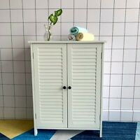 White Bamboo Multipurpose Free Standing 2 Door Bathroom Toilet Cabinet Organiser