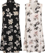 Geblümte ärmellose Mini-Damenkleider aus Polyester