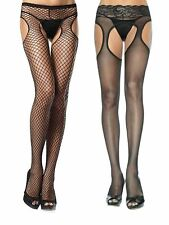 Womens Plus Size Fishnet and Sheer Lace Waist Suspender Pantyhose - Pack of 2