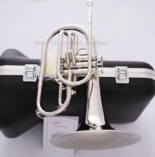 Professional JINBAO F Key Marching Mellophone Silver nickel Horn Hard Case