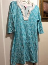 LILLY PULITZER DRESS, M, TURQUOISE  & WHITE, ROPE DESIGN, 3/4 sleeves. Euc