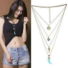 Silver Pendant Turquoise Boho Tibetan Necklace Chain Bib Collar Multilayer U87