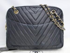 CHANEL Chain Shoulder Bag Pouch V Stitch Lambskin Dark Navy France 21170565500 K
