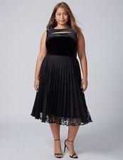 Lane Bryant Women's Black Velvet Floral Lace Cocktail Dress SZ 22 Velour