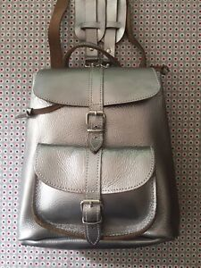 Grafea Silver Leather Small Backpack