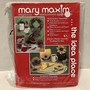 Mary Maxim Plastic Canvas Needlework Watermelon Notepad Holder 10 magnets New