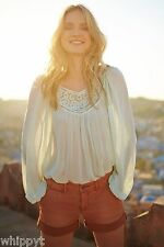 ANTHROPOLOGIE LACE SCROLL PEASANT TOP size 4 VANESSA VIRGINIA MINT GREEN  NWT