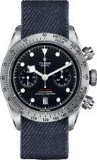 New Tudor Heritage Black Bay Steel Watch on Blue Jean Fabric Strap - M79350-0003