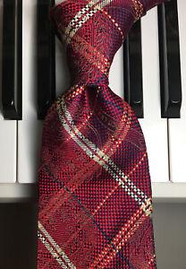 """TOMMY HILFIGER / Vintage """"Tommy"""" Classic Crests & Tartan Plaid Silk Necktie"""